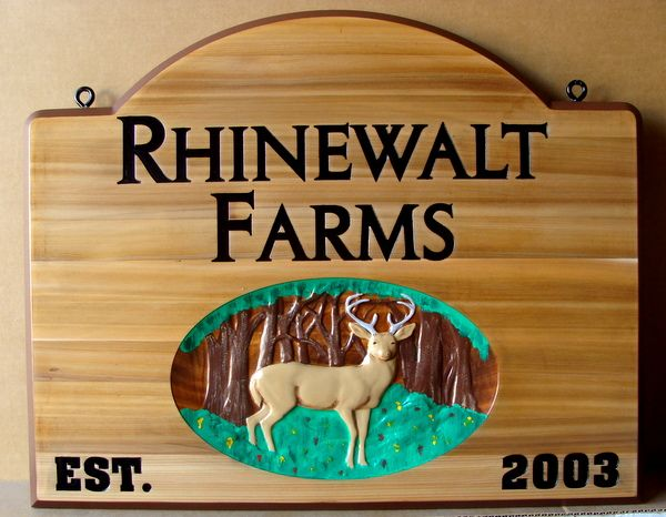 O24556 - Cedar Wood Farm Sign with Forest and 3-D Carved Deer