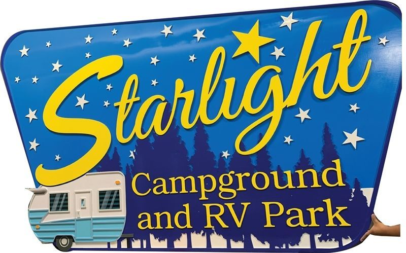 G16300 - Carved 2.5-D Mukti-level  HDU Entrance sign for the Starlight Campground and RV Park, with Camp Trailer, Forest and Stars as Artwork