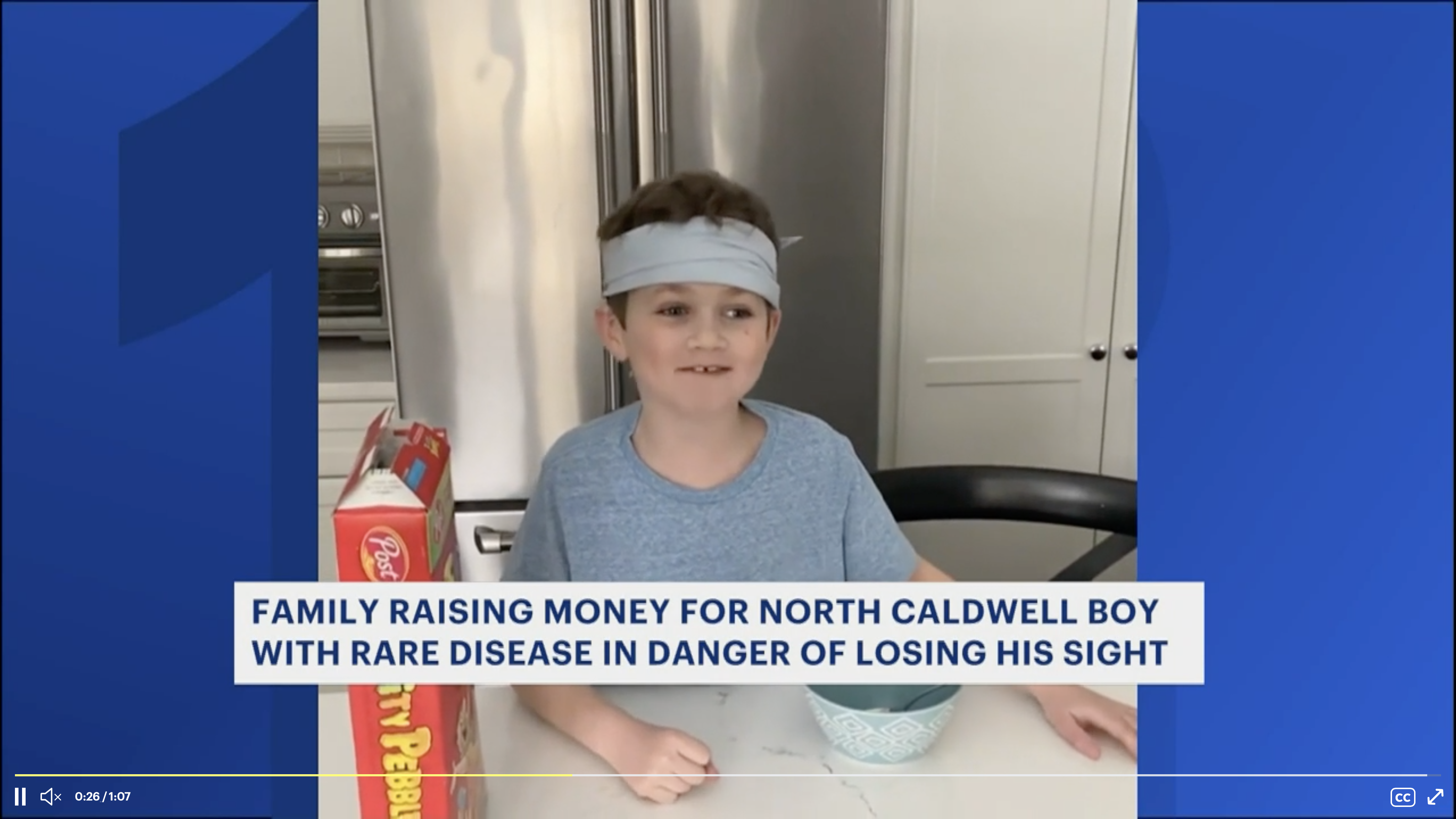 Challenge: Make a bowl of cereal - blindfolded. Family raising money for NJ boy in danger of losing sight