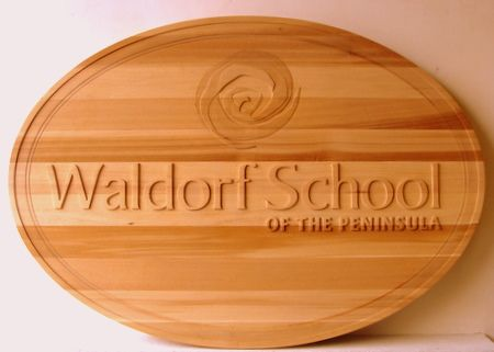 Y34810 - Carved 2.5-D Cedar (Unstained) Wall Plaque for the Waldorf School