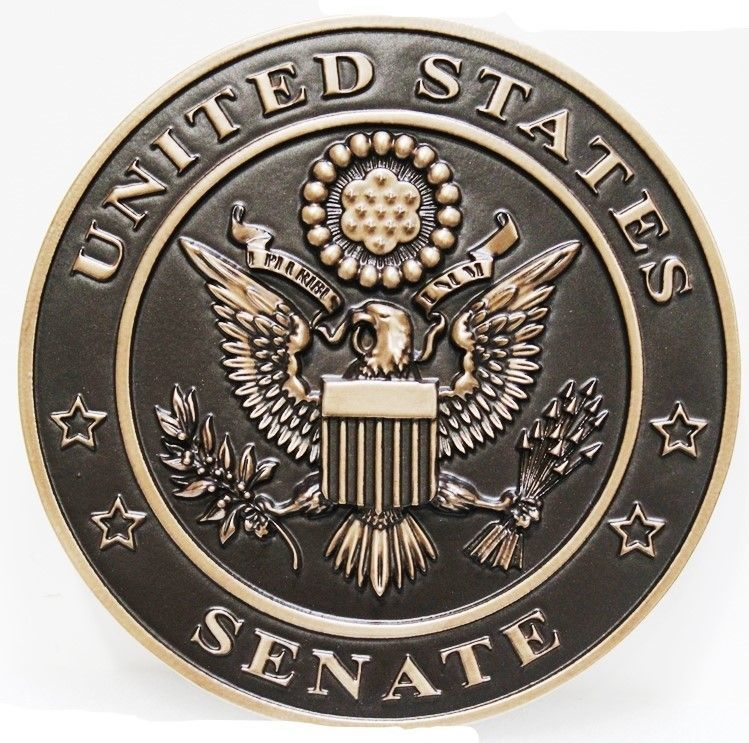 AP-2035- Carved 3-D Brass-Played Plaque for the US Senate