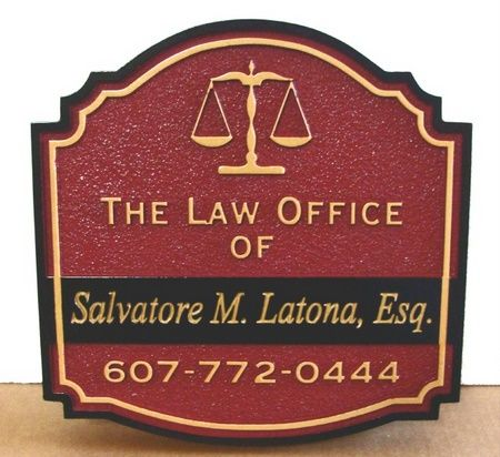 A10121 - Sandblasted & Engraved Lawyer Sign with Stylized Scales of Justice