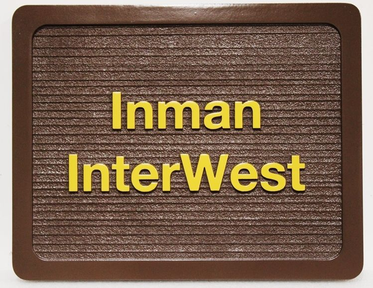 SA28858- Carved and Sandblasted Wood Grain HDU Sign for Inman InterWest