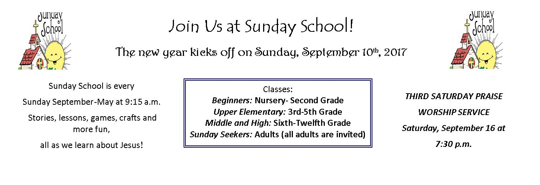 Sunday School begins September 10