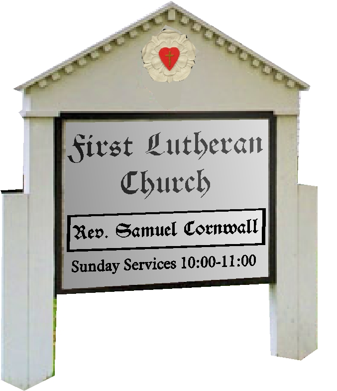 D13113 - Wood Lutheran Outside Sign, Double-Faced with Time of Services, Reverand's Name and 3D Carved Heart and Cross