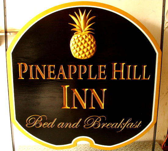 "T29038 - Carved Wooden Entrance Sign for ""Pineapple Hill Inn"" Bed & Breakfast, with 3-D Carved, Gold-Leaf Gilded Pineapple"