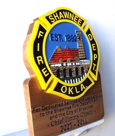 QP-1240 - Carved Retirement Wall Plaque of  the Emblem/Badge of a Fire Department, Shawnee, Oklahoma, Artist Painted on Cedar Wood