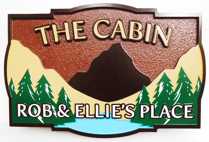 "M22227 - Carved HDU Sign ""The Cabin"" featuring Raised Outline Text, and a Mountain Scene with Lake and Trees"