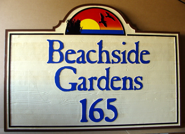 L21228 - Carved and Sandblasted Cedar Wood Address Sign for Beachside Gardens, with Gulls and Sunset