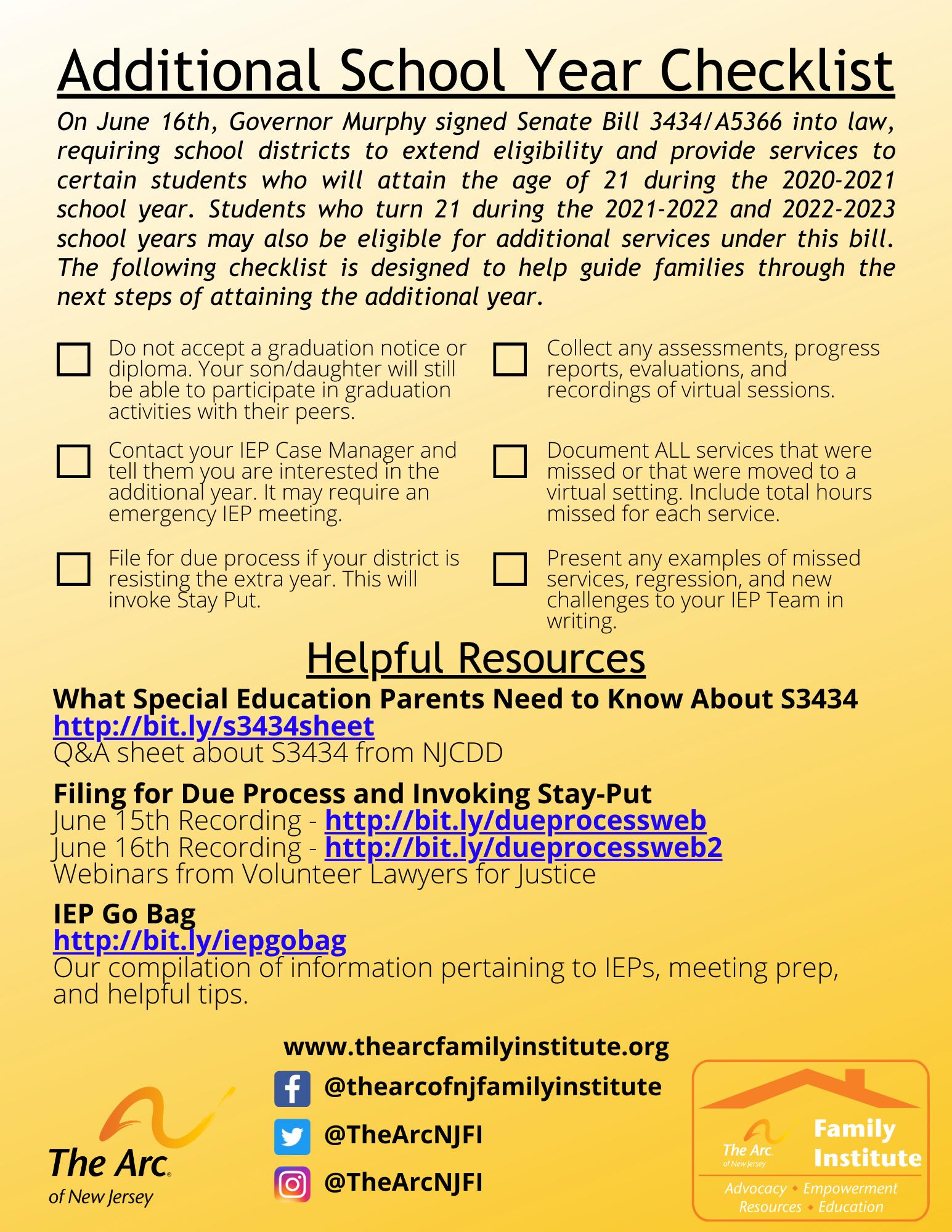 S3434 Additional School Year Checklist