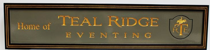 """P25175 - Engraved HDU Sign for """"Teal Ridge Eventing"""", 2.5-D , Artist-Painted with """"Equestrian Jumping"""" Logo as Artwork"""