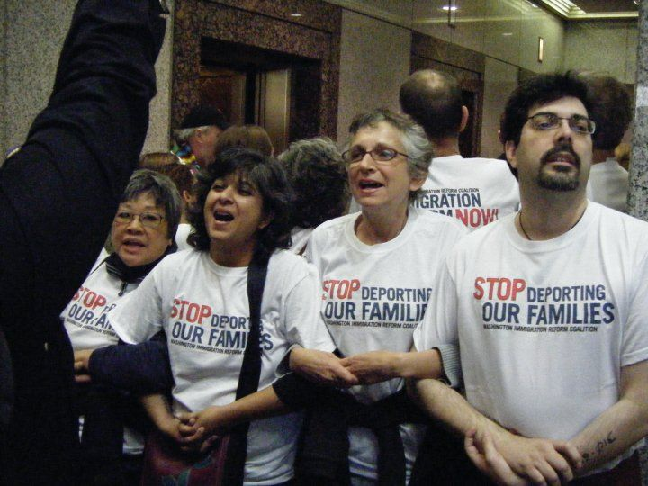 Civil Disobedience for Immigration Reform, with Sharon Maeda and Aaliya Gupta.  (Photo courtesy Susie Levy)