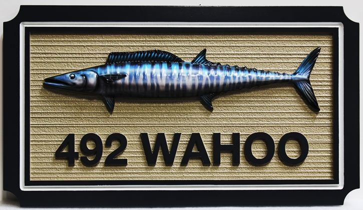 M2129 - Address  Sign  for a  Coastal Residence with Wahoo Fish as Artwork (Gallery 20)