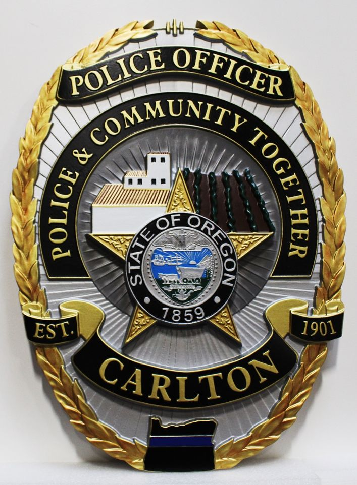 PP-1375 - Carved Plaque of the Police Badge of the City of Carlton, Oregon, 3-D Arist-Painted with Gold Leaf