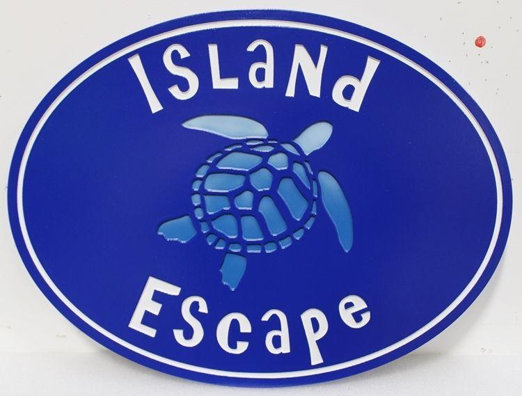 "L21669 - Carved EngravedHDU  Coastal ResidenceNameSign ""Island Escape"", with Swimming Sea Turtle as Artwork"