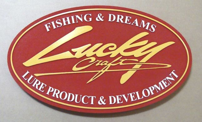 """SA28520 - SIgn for """"Lucky Craft"""" Fishing Lure Manufacturing Company , with 24K Gold-Leaf Gilding"""