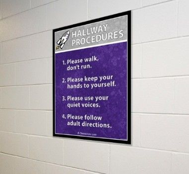 School signs, procedure boards, hallway procedures in purple and gray, custom signs