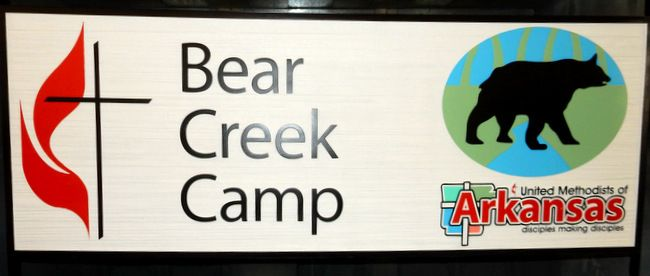 G16313 - Carved Entrance Sign for United Methodist Camp with Bear Crossing Stream, Cross and Flame