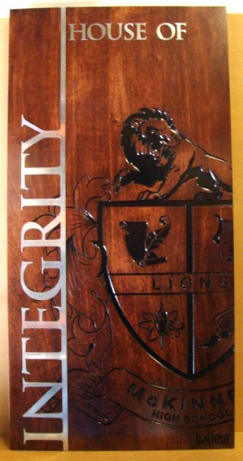 "M3047 - Carved Cedar Wood Plaque for ""House of Integrity"" with High School Coat of Arms (Gallery 34)"