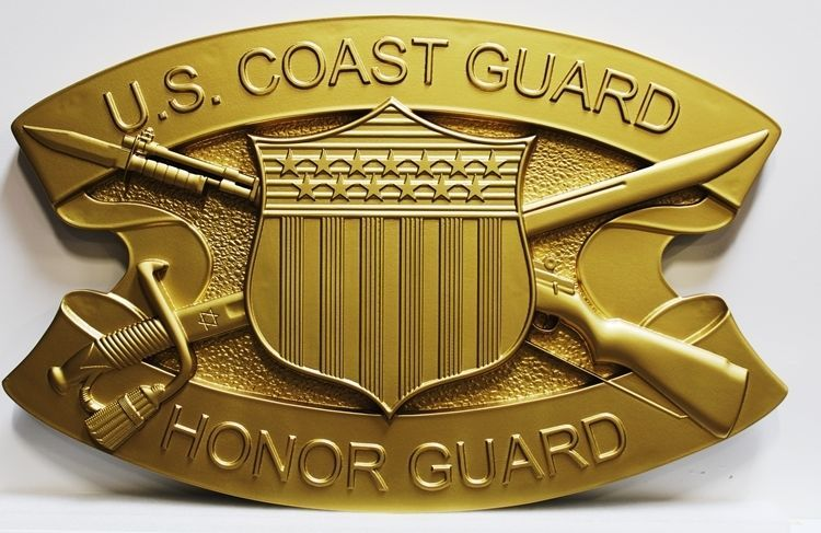 NP-1350 - carved 3-D Bas-Relief Plaque of the Crest / Insignia of the US Coast Guard Honor Guard