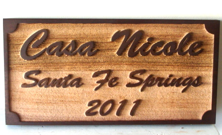 I18934 - Sandblasted Cedar Property Name and Address Sign, with a Wood Grain