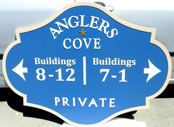 """KA20853 - Carved HDU Building Number Address Sign for Seaside Condos  in """"Anglers Cove"""""""