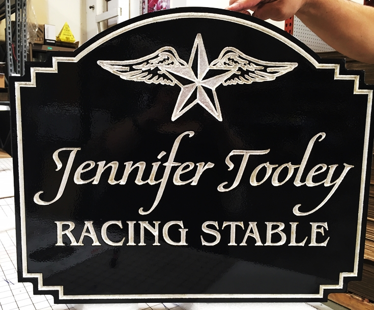 P-25028 - Elegant V-carved, Engraved Racing Stable Sign with Silver-leafed Text, Border and Logo, a Winged-Star
