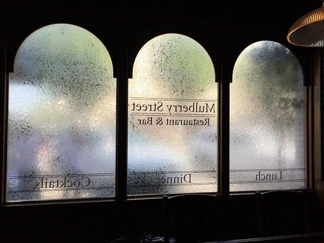 Etch window graphics for Fullerton CA Restaurants