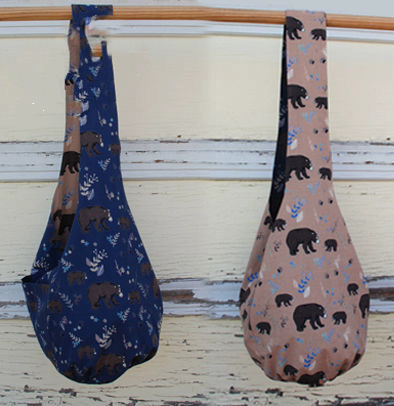 Bear Reversible Sling Bag - Blue and Brown