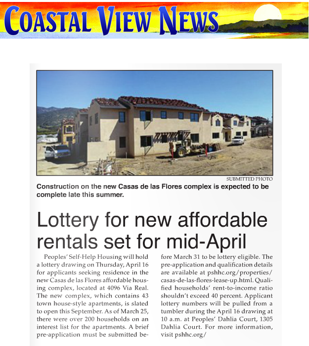Lottery for new affordable rentals set for mid-April - Coastal View News