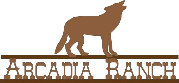 M7614 - Silhouette Iron Sign for Ranch, with Wolf