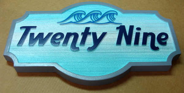 "L21174  – Carved 2.5-D HDU Beach House Address Sign (""29""), with Stylized Surf"