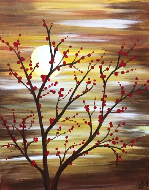 Autumn Berries Corks & Canvas Class with Linda Anderson