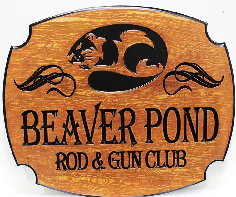 M3714 - Faux Wood 2.5-D Carved Plaquefor the Beaver Pond Rod & Gun Club (Gallery 21)
