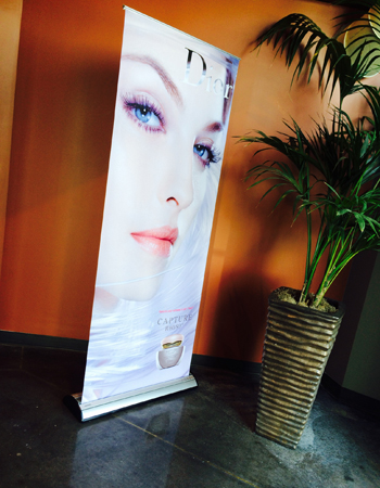 Retractable Banner with stand- 6.5' x 33.5""