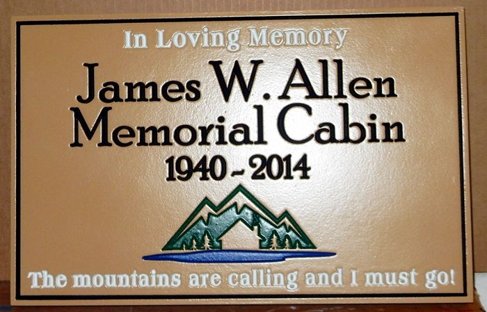 M22215 - Engraved  HDU Memorial Cabin dedicated to  James Allen with  Mountains , Trees, a Cabin and a Lake as Artwork