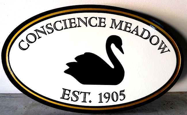 SM41 - Carved 2.5D HDU Property Name and Address Residence Sign, with Swan (Gallery 18)