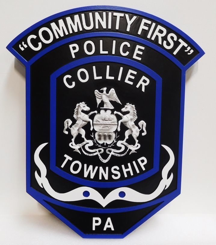 X33761 - Carved 3-D HDU Plaque of the Shoulder Patch of the Police Department of Collier Township, Pennsylvania