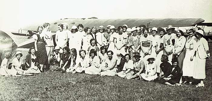 Early group of Ninety-Nines, Roosevelt Field, L.I. c.1930 (Cradle of Aviation Museum)