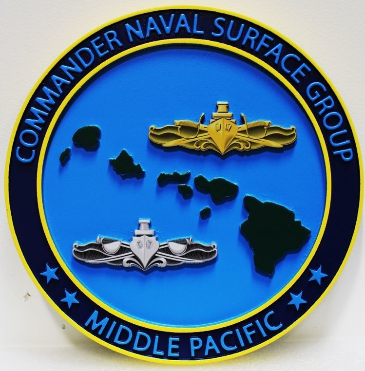 JP-1262  - Carved 3-D HDU Plaque of the Seal  of the Commander, Naval Surface Group, Middle Pacific, Artist Painted