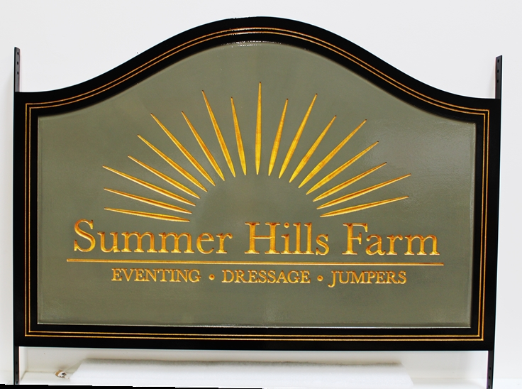 "P25174 - Engraved HDU Entrance Sign for ""Sunset Hills Farm"", with Stylized Setting Sun as Artwork"
