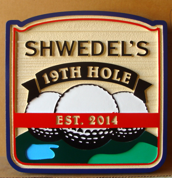 "RB27314 -  Carved and Sandblasted 19th Hole Bar Sign , ""Shwedel's"""
