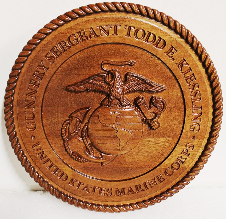 XP-3015 - Carved Mahogany Personalized Great Seal of the US Marine Corps, 3-D Stained
