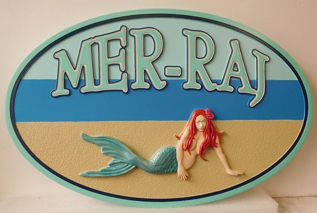 M2011 - Beach House Sign for the Mer-Ray , with Mermaid (Gallery 20)