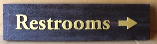 Q25060 - Carved, Painted Wood, Directional Sign with an Arrow Indicating the Location of Restrooms