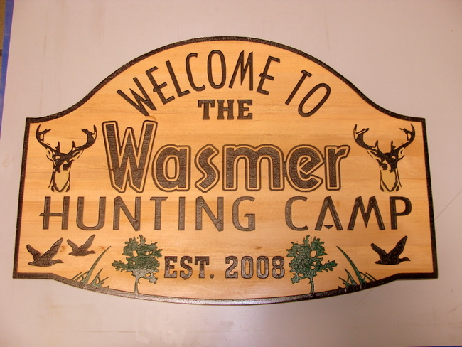 M22646 - Engraved Cedar Hunting Camp Sign with Deer Heads and Flying Ducks