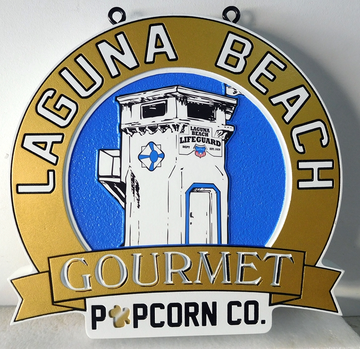 """L21977 - Carved and Engraved HDU sign for the """"Laguna Beach Gourmet Popcorn Company"""""""