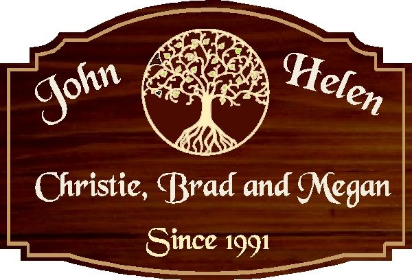 """N23055- Custom Engraved Family Name Wall Plaque, with """"Tree of Life"""""""