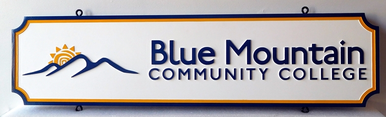 FA15537 - Carved Entrance Sign for Blue Mountain Community College, 2.5-D Multi-Level Raised Relief