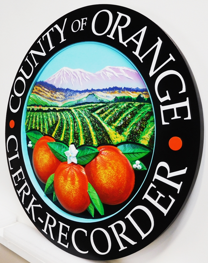 CP-1405 - Carved Plaque of the Seal of Orange County, California, Artist Painted ( Side View)